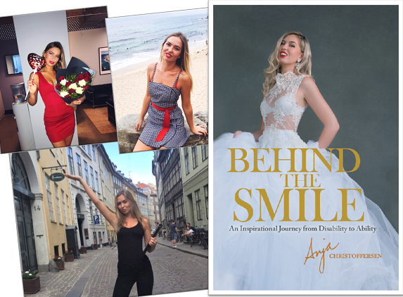 Model Anja Christoffersen posing in a white dress which is the front cover of her book 'Behind the Smile'.