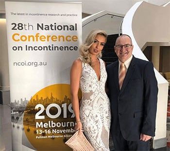 Anja with Greg Ryan at the 2019 National Conference on Incontinence where she presented.